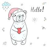 vector card with cute bear. vector print