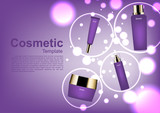 Cosmetic ads template, cosmetic set in circles and small bubble lights - 174015516
