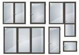 Set of black plastic windows - 174018175