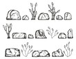 stones and plants vector sketch. hand drawing isolated