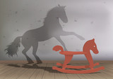 cheval de bois - cheval - symbole - ombre -concept - rêve - succès - réussite - start-up - 174022793