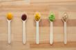 vegetable or fruit puree or baby food in spoons - 174024132