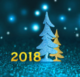 New 2018. Happy new year. 2018 numbers on blue background - 174030979