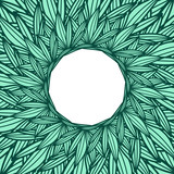 Round copyspace frame with palm leaves - 174038577
