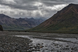 Toklat river and flats flowing through a valley in Denali National Park - 174041583