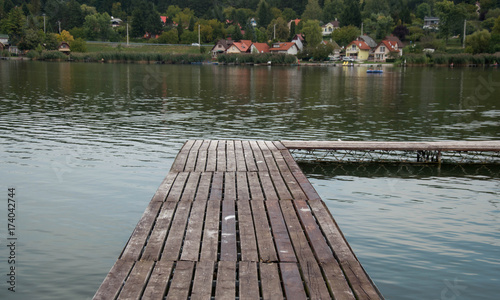 Aluminium Pier Pier on a silent lake in the countryside