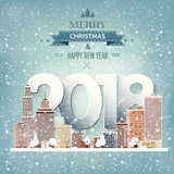 Winter urban landscape. City with snow. Christmas and new year. Cityscape. Buildings.2018.Vector illustration. - 174044113