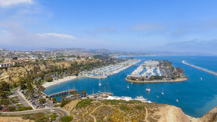 Dana Point port and boats, aerial view - California