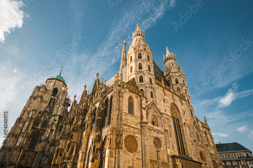 St. Stephan Cathedral against blue sky in Vienna, Austria Poster