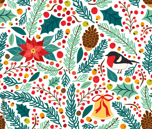 Cotton fabric Cute hand drawn winter holidays seamless pattern