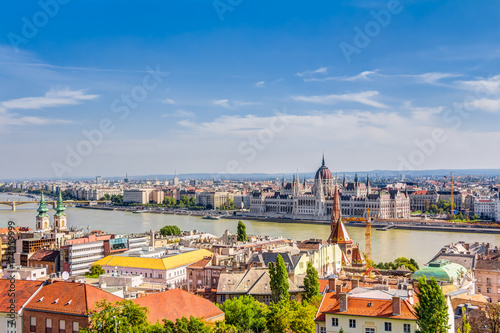 Capital city of Budapest with the Danube River, Hungary