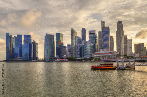 Singapore Skyline at Marina Bay During Sunset Poster