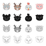 Different kinds of animals, muzzle mouse, deer, chicken, pig. Muzzle of an animal set collection icons in cartoon black monochrome outline style vector symbol stock illustration web. - 174092794
