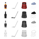 A bottle of Scotch whiskey,ball and putter for golf, , a Scots skirt, the weather in Scotland. Country Scotland set collection icons in cartoon black monochrome outline style vector symbol stock - 174093939