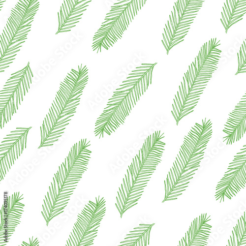 Seamless pattern with Christmas tree branch on white. Vector illustration - 174095178