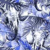 Watercolor exotic seamless pattern. Elephants with colorful tropical leaves. African animals background. Wildlife art illustration. Can be printed on T-shirts, bags, posters, invitations, card. - 174104346