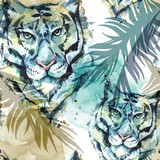 Watercolor exotic seamless pattern. Tigers with colorful tropical leaves. African animals background. Wildlife art illustration. Can be printed on T-shirts, bags, posters, invitations, card. - 174104389