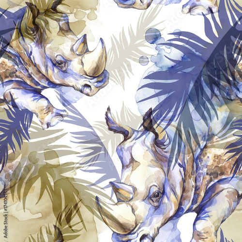 Watercolor exotic seamless pattern. Rhinoceros with colorful tropical leaves. African animals background. Wildlife art illustration. Can be printed on T-shirts, bags, posters, invitations, card. - 174104548