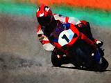 Watercolor Bike Racer - 174117511