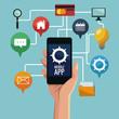 Mobile smartphones app icon vector illustration graphic design