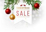 Christmas sale paper emblem - 174159554