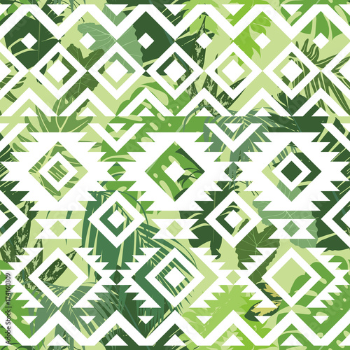 Cotton fabric Seamless ethnic tropical pattern