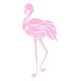 Beautiful pink flamingo silhouette, decorative logo, vector illustration