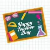 happy teacher day card chalkboard elements school vector illustration - 174173722