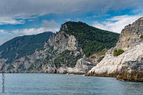 Fotobehang Liguria Portovenere saint peter church hanging on cliffs view panorama