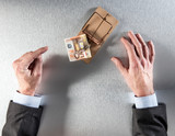 businessman hands showing his hesitation, temptation and reflection facing euro money in mouse trap for corporate warning, bait or investment question, above view - 174180799