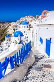 Oia, Santorini, Greece - Blue church and caldera - 174181152