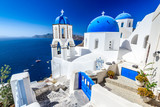 Oia, Santorini, Greece - Blue church and caldera - 174181191