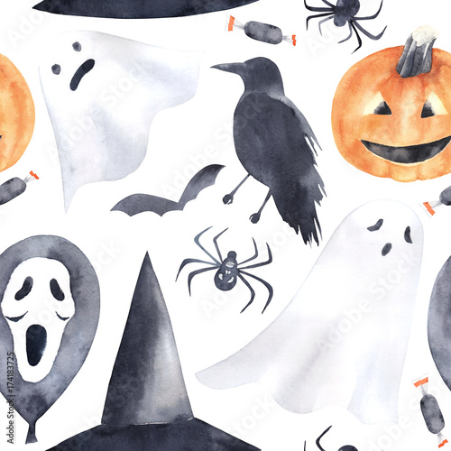 Materiał do szycia  Watercolor seamless pattern for Halloween. Pumpkin, raven, ghost, air balloon, candy and spider. Hand drawn illustration