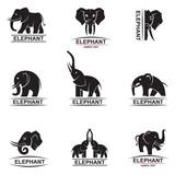 monochrome collection of elephant logos