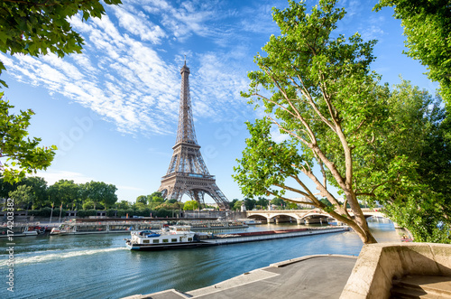 Foto op Plexiglas Eiffeltoren Seine in Paris with Eiffel Tower in sunrise time