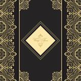Vintage  luxury greeting card. Vector ornate  border. Golden frame on a dark background.  Template for design.  - 174205320