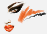 Makeup. Fashion illustration. Beautiful woman face - 174210107