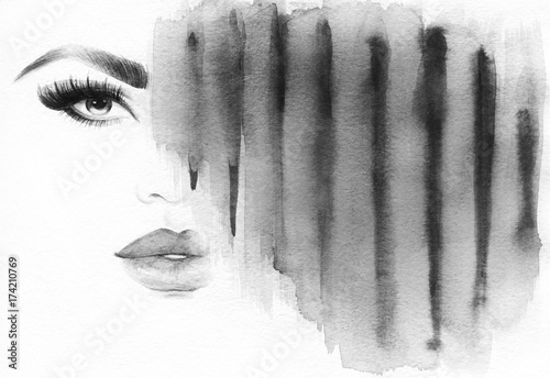 Makeup. Fashion illustration. Beautiful woman face - 174210769