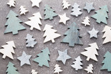 Christmas wooden decor on the snow background. - 174211177
