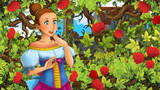 Cartoon scene of beautiful princess in the garden - castle in the background - illustration for children - 174211900