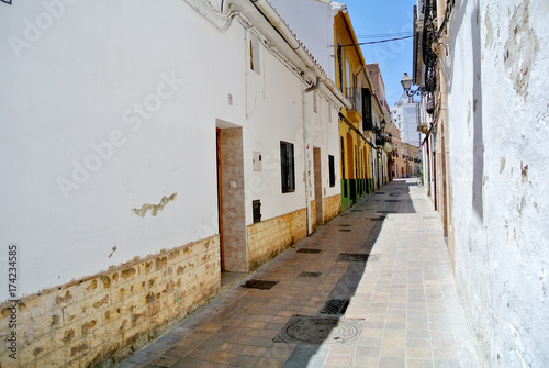 Fotobehang Smalle straatjes view of the alleys of the Benimaclet district in Valencia Spain