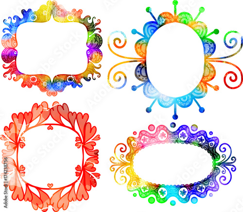Digitally created watercolor style frames.