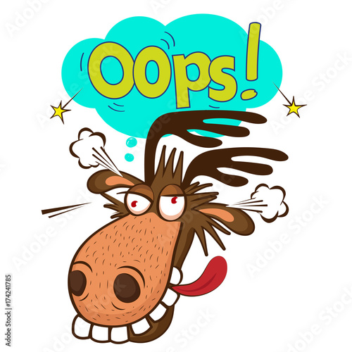 Aluminium Hipster Hert Moose Face Picture. Cartoon Smile Deer Vector. Image On White Background. Moose On The Loose. Oops Speech Bubble.