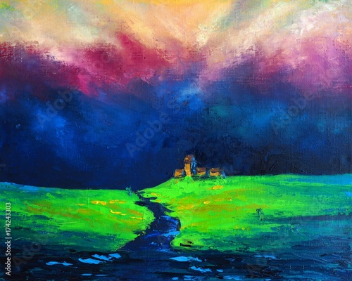 Original oil painting on canvas - Mystical Landscape - Field after rain and thunderstorm - The Enchanting Power of Nature - Modern Art © shvets_tetiana