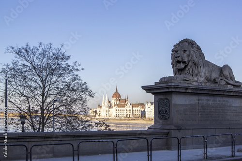 Deurstickers Boedapest Lion on chain bridge and the parliament in Budapest, Hungary