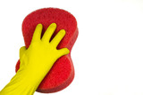 Hand in the yellow glove with the red sponge - 174255101