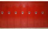 close up on red lockers in gym - 174257575