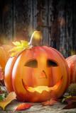 Halloween pumpkinlantern with wooden backround - 174265318