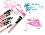 Make-up brush with colorful crushed mixed colors eyeshadows