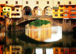 Quadro famous bridge Ponte Vecchio with reflection, Florence, Italy, retro toned